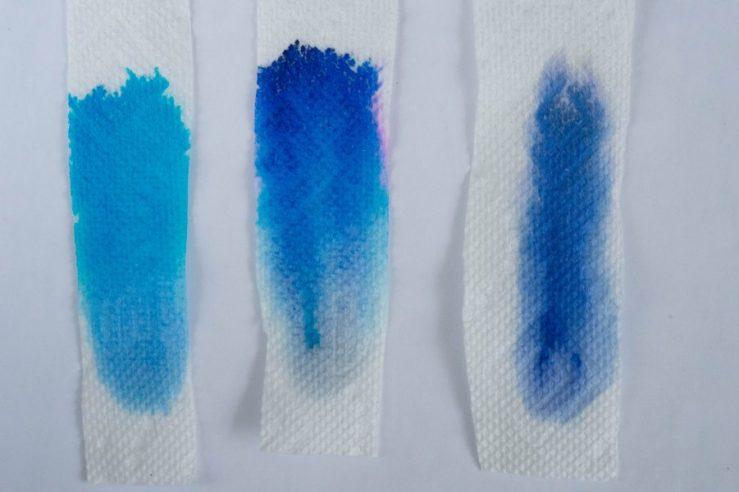 Pelikan Edelstein Topaz, Diamine Blue Velvet and Aurora Blue ink chromatography