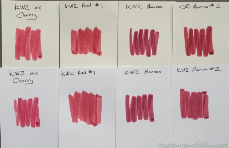 KWZ Cherry, Red #1, Maroon and Maroon #2 ink swab comparisons