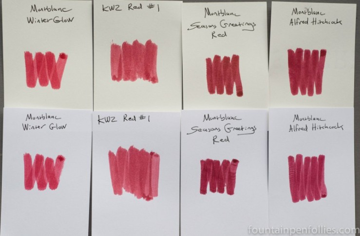 KWZ Red #1 and Montblanc inks swab comparison