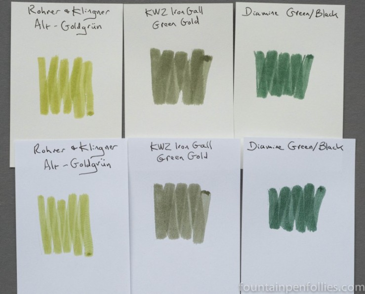 KWZ Iron Gall Green Gold ink comparisons
