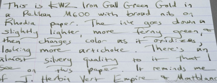 KWZ Iron Gall Green Gold ink writing sample
