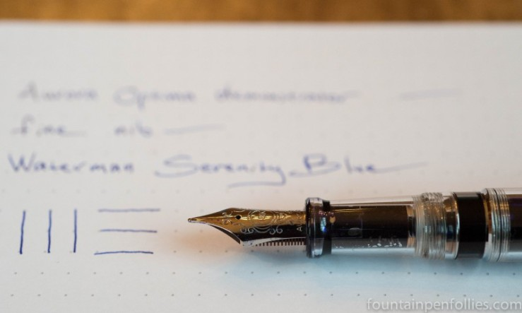 Aurora Optima chrome demonstrator fountain pen with Waterman Serenity Blue ink