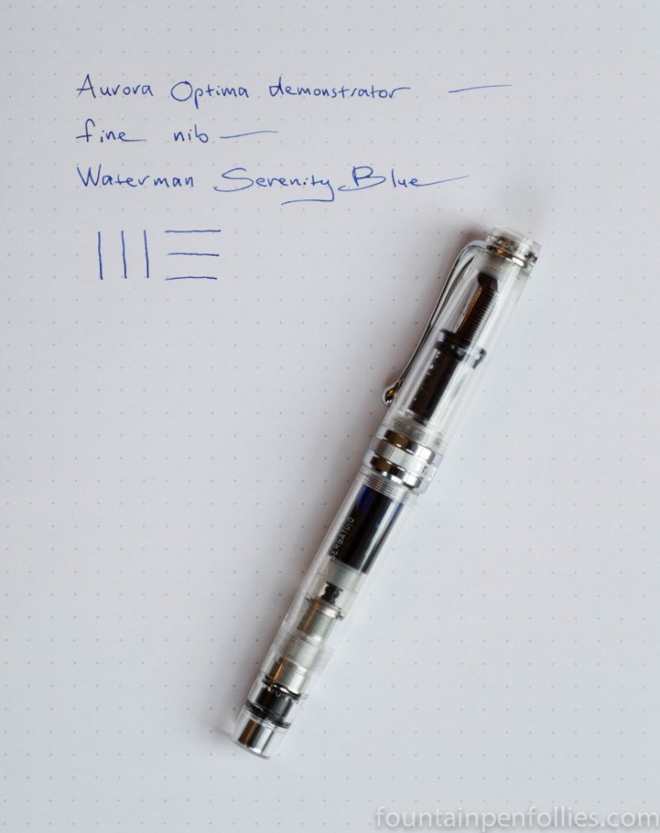 Aurora Optima chrome demonstrator fountain pen