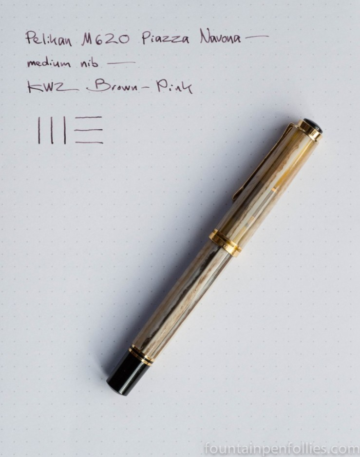 Pelikan M620 Piazza Navona fountain pen and KWZ Brown-Pink ink