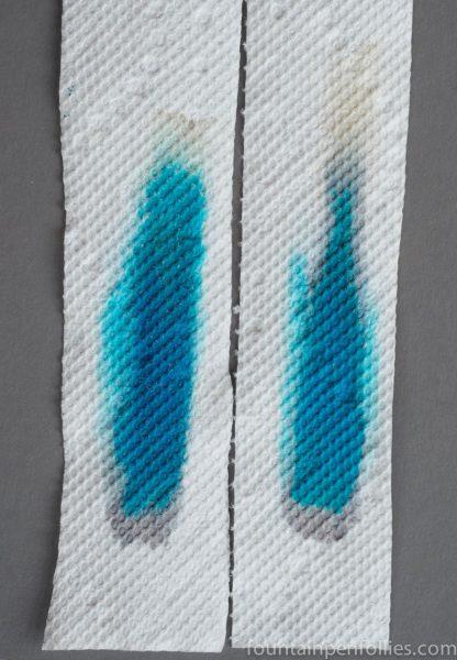 KWZ Iron Gall Blue #6 and Iron Gall Turquoise ink chromatography
