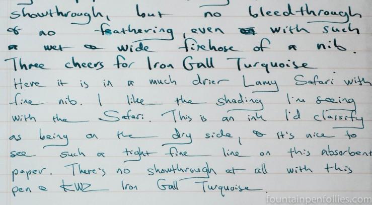 KWZ Iron Gall Turquoise ink writing sample