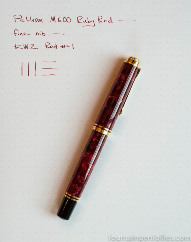 Pelikan M600 Ruby Red fountain pen with KWZ Red #1 ink