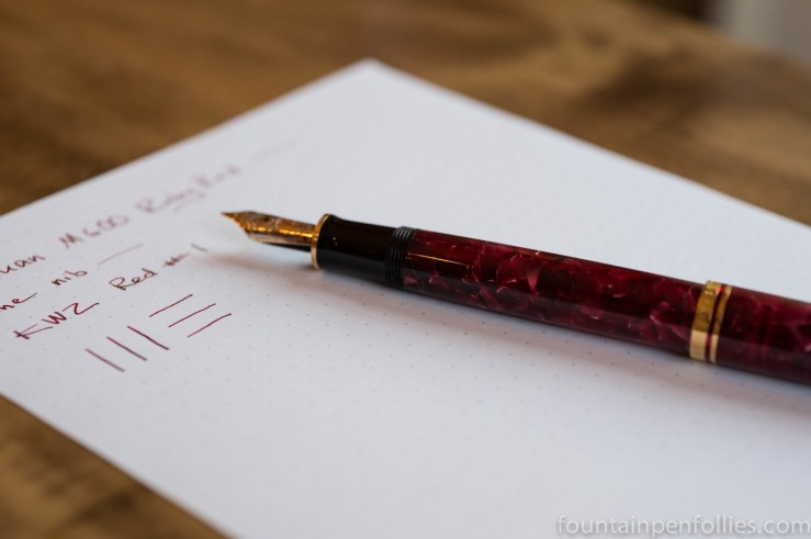 Pelikan M600 Ruby Red fountain pen and KWZ Red #1 ink