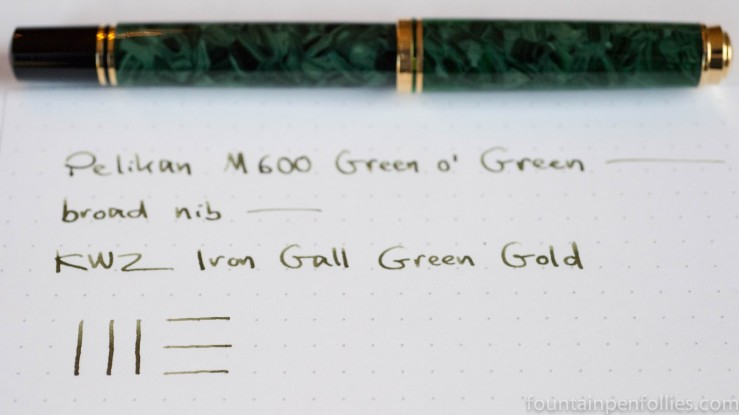 Pelikan M600 Green o' Green fountain pen and KWZ Iron Gall Green Gold ink