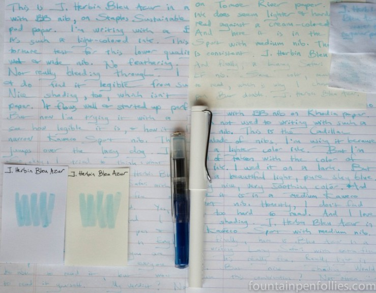 J. Herbin Bleu Azur ink writing samples