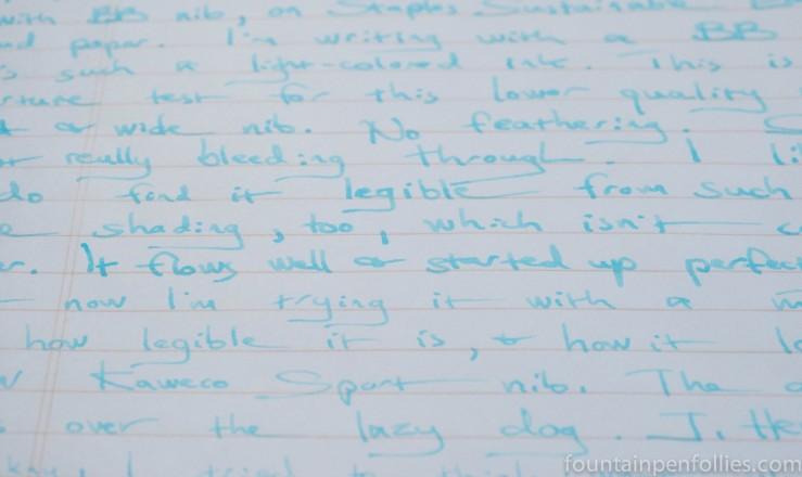 J. Herbin Bleu Azur ink writing sample