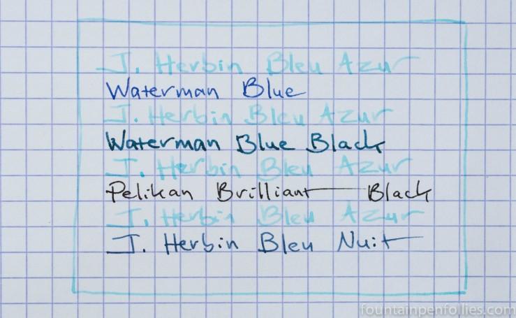 J. Herbin Bleu Azur ink writing sample comparisons