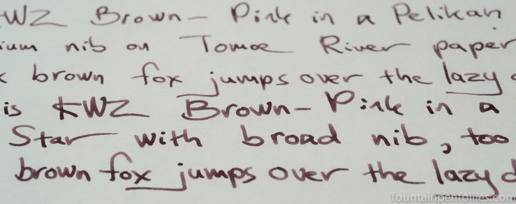 KWZ Brown-Pink ink writing sample