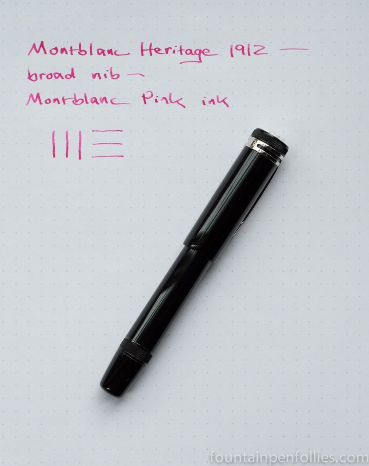 Montblanc Heritage 1912 fountain pen and Montblanc Pink ink