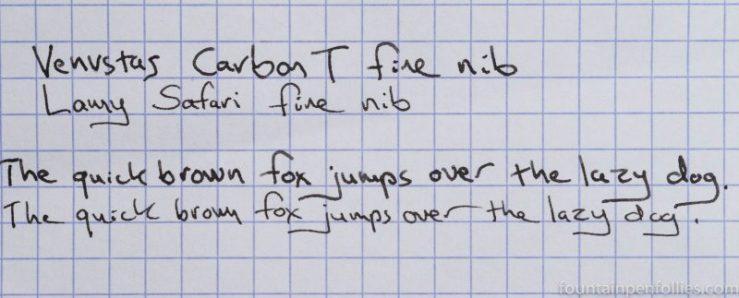 Venvstas Carbon T fountain pen fine nib writing sample comparison