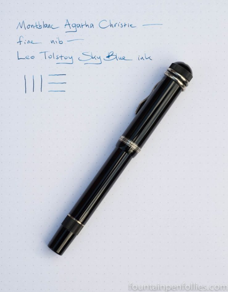 Montblanc Agath Christie fountain pen with Montblanc Leo Tolstoy Sky Blue ink