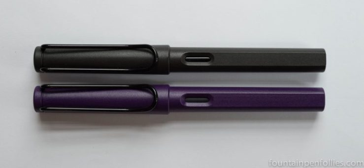 Lamy Safari Dark Liliac fountain pen compared to Lamy Safari Charcoal