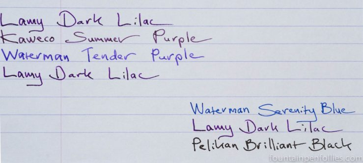 Lamy Dark Lilac ink writing sample comparisons