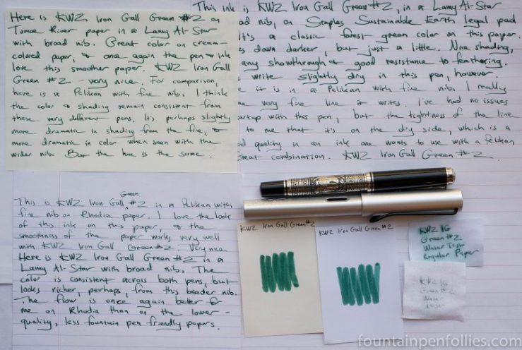 KWZ Iron Gall Green #2 ink writing samples and swabs