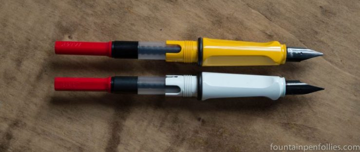 older Lamy Safaris with black nibs and cartridges