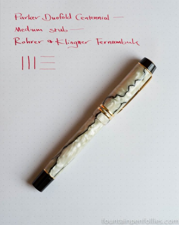 Parker Duofold Centennial Black and Pearl with Rohrer & Klingner Fernambuk ink