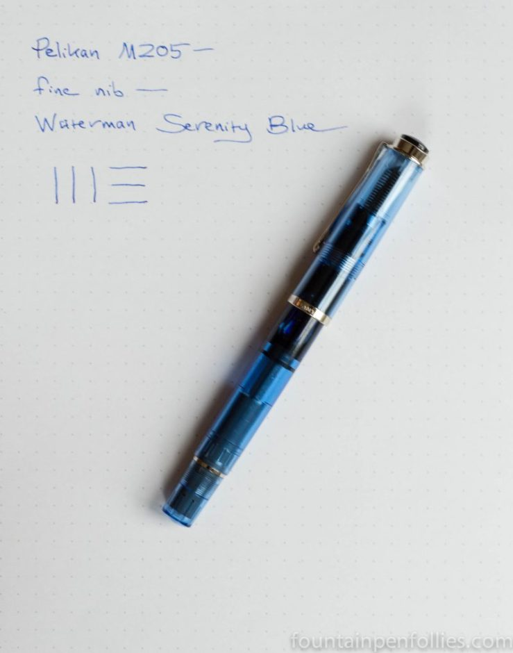 Pelikan Classic M205 Transparent Blue Demonstrator with writing sample
