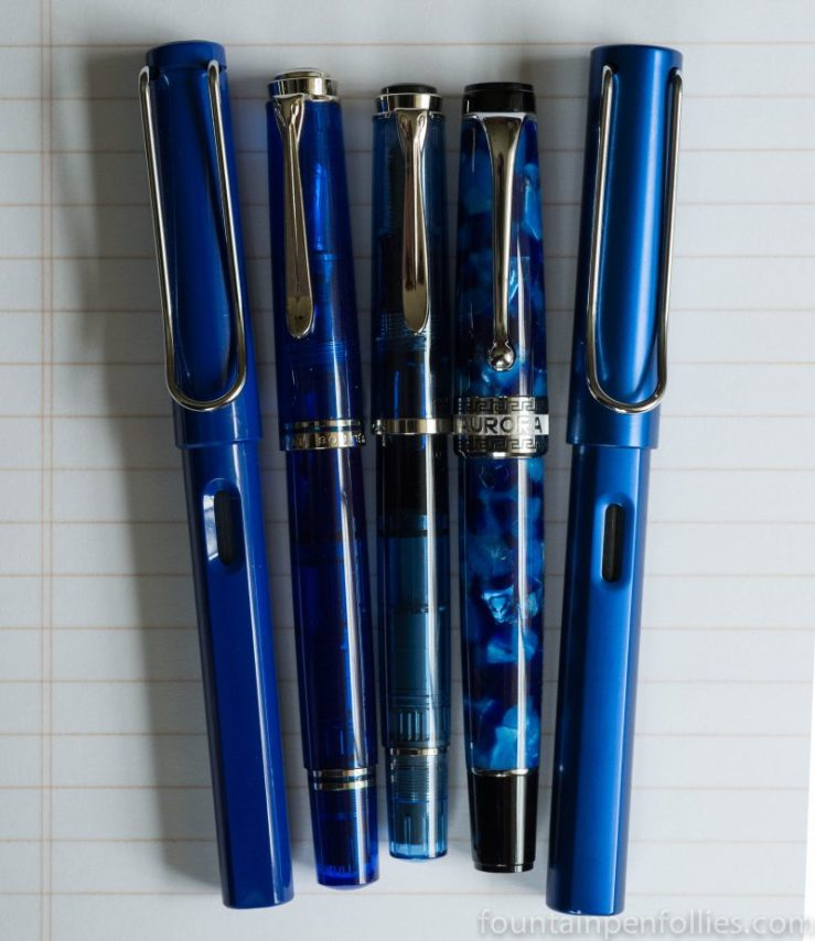 blue fountain pens with chrome trim