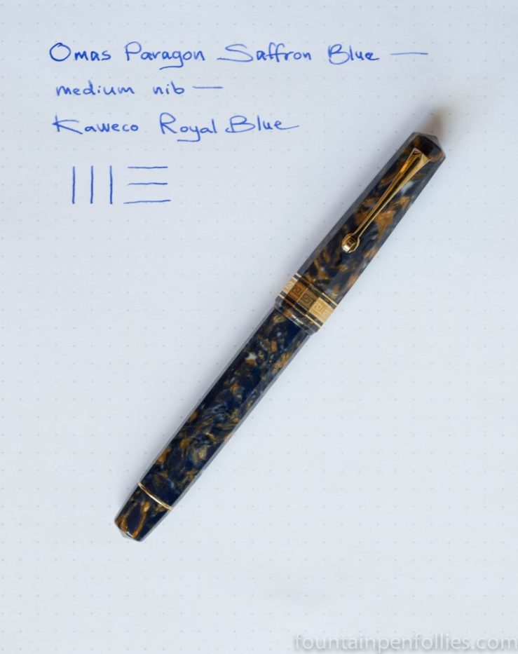 Omas Paragon Saffron Blue fountain pen