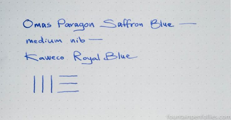 Kaweco Royal Blue ink writing sample
