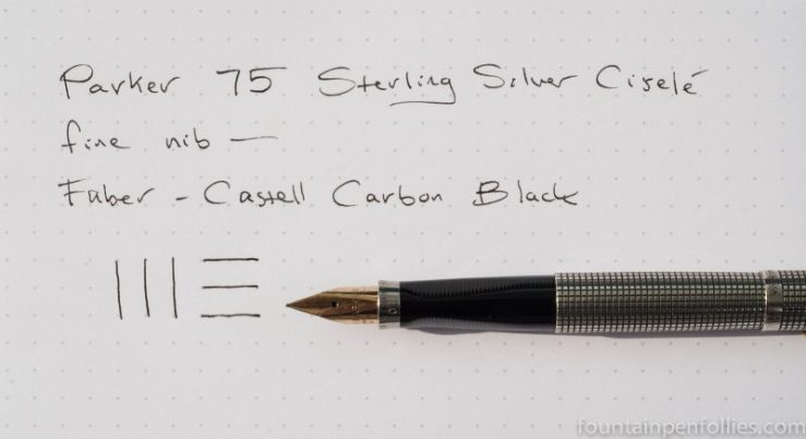Parker 75 sterling silver ciselé Faber-Castell Carbon Black ink writing sample