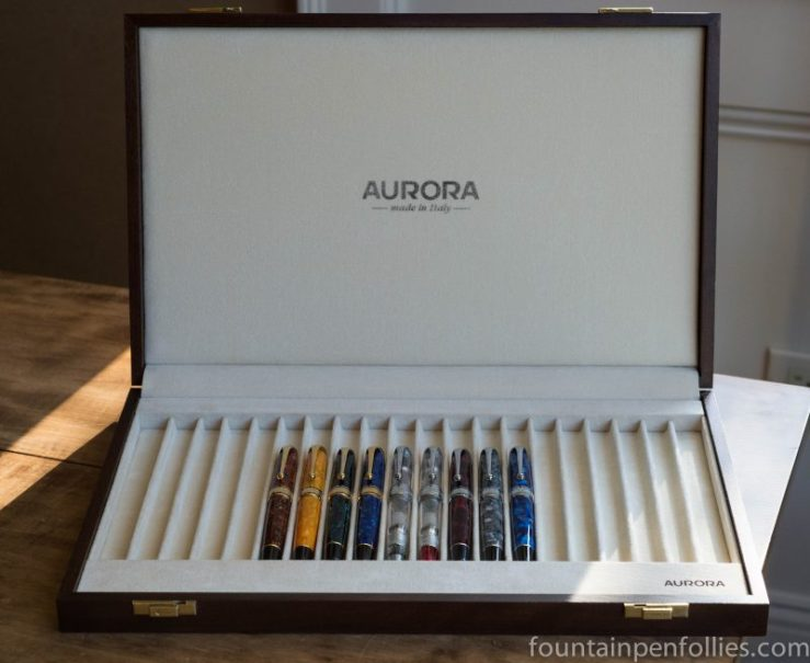 Aurora Optima fountain pens in box