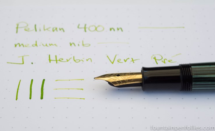Pelikan 400nn fountain pen with J. Herbin Vert Pre ink writing sample