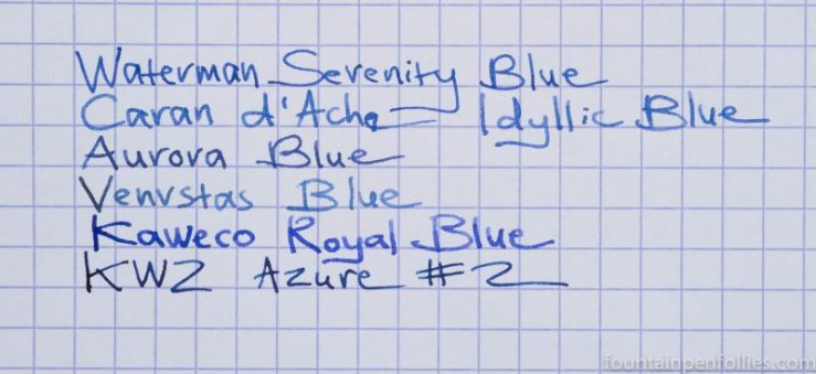 KWZ Azure #2 ink comparisons