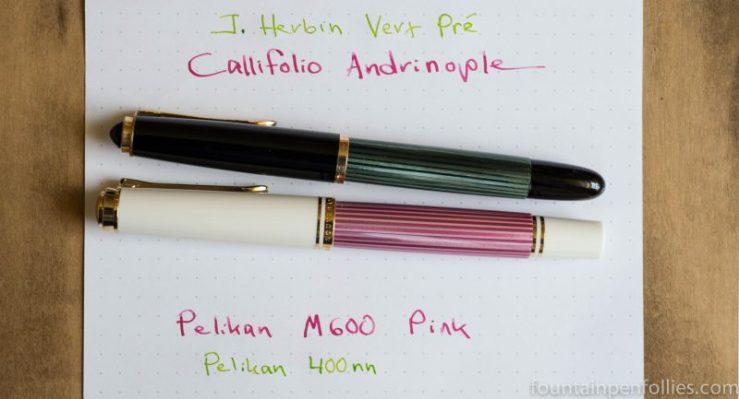J. Herbin Vert Pré Callifolio Andrinople Pelikan M600 Pink Pelikan M400nn