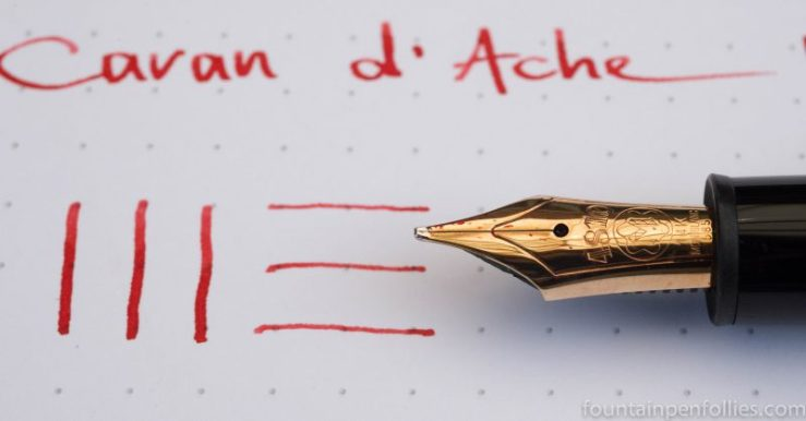 Montblanc 146 with broad nib Caran d'Ache Infra Red