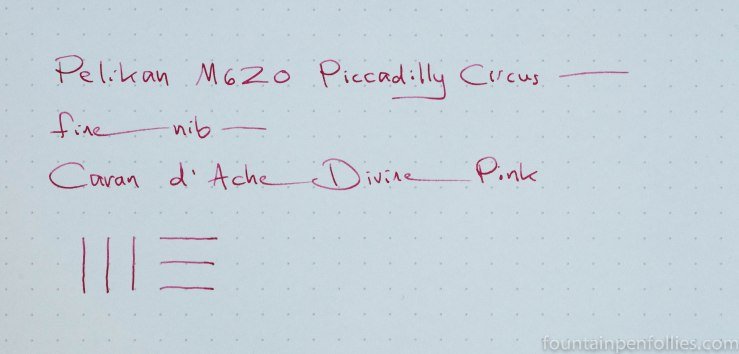 Caran d'Ache Divine Pink ink writing sample