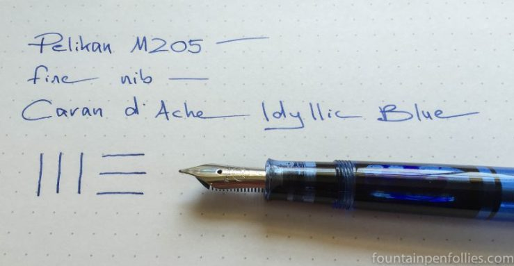 Pelikan M205 blue demonstrator Caran d'Ache Idyllic Blue ink writing sample