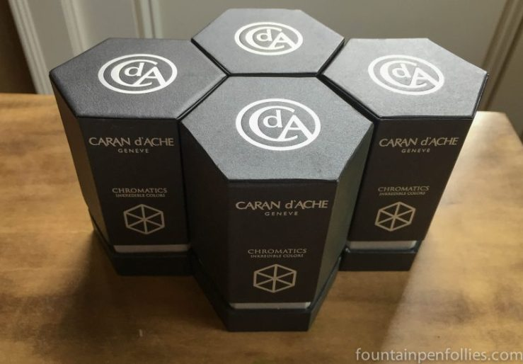 Caran d'Ache Chromatics ink bottle boxes