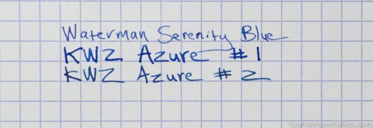 KWZ Azure #1 ink writing sample comparisons