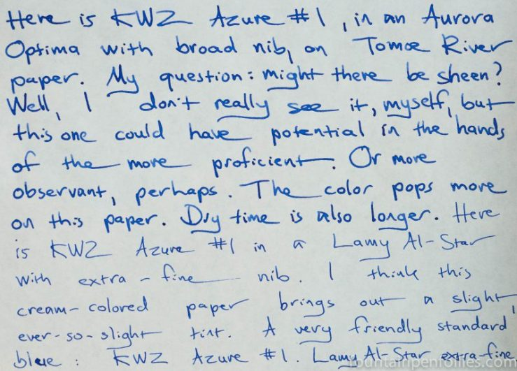 KWZ Azure #1 ink writing sample