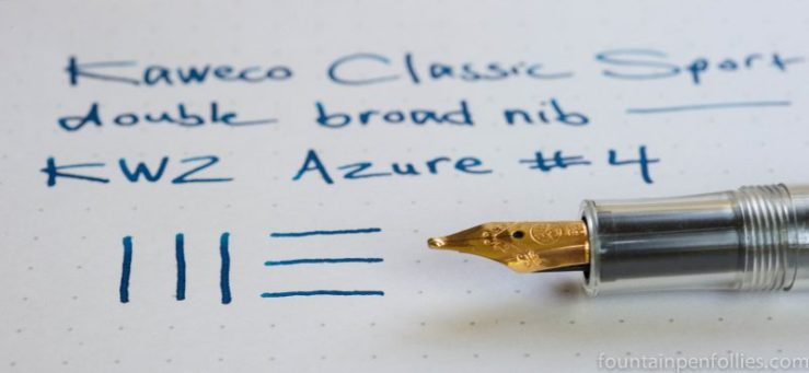Kaweco Classic Sport clear with double broad nib KWZ Azure #4 ink
