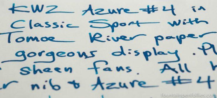 KWZ Azure #4 ink writing sample