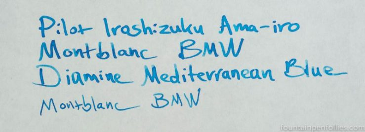 Montblanc BMW ink writing sample comparisons