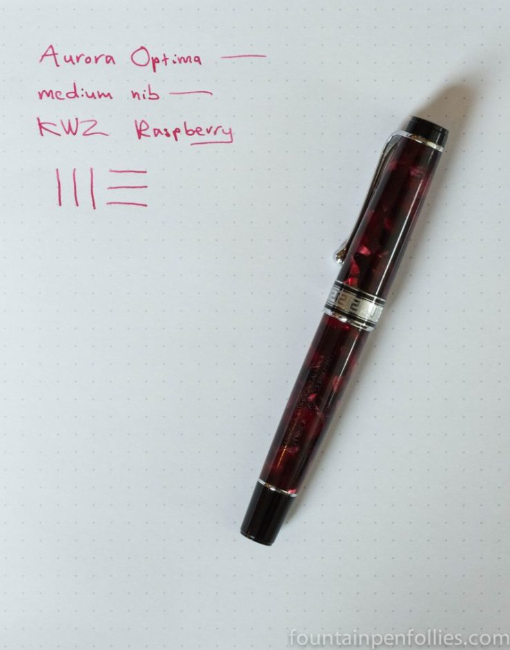 KWZ Raspberry ink with Aurora Optima Burgundy fountain pen