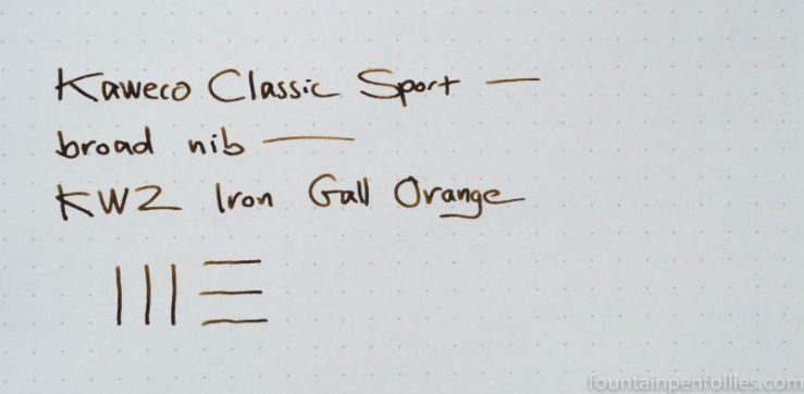 KWZ Iron Gall Orange ink writing sample