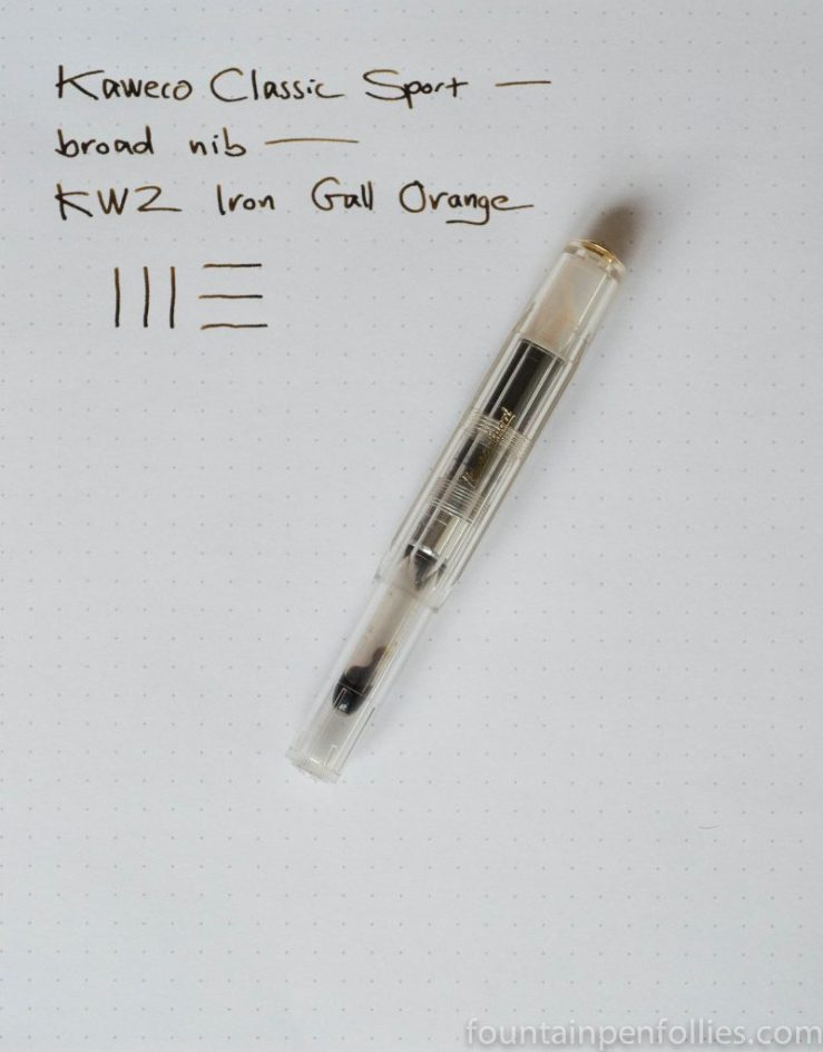 Kaweco Classic Sport fountain pen with KWZ Iron Gall Orange ink