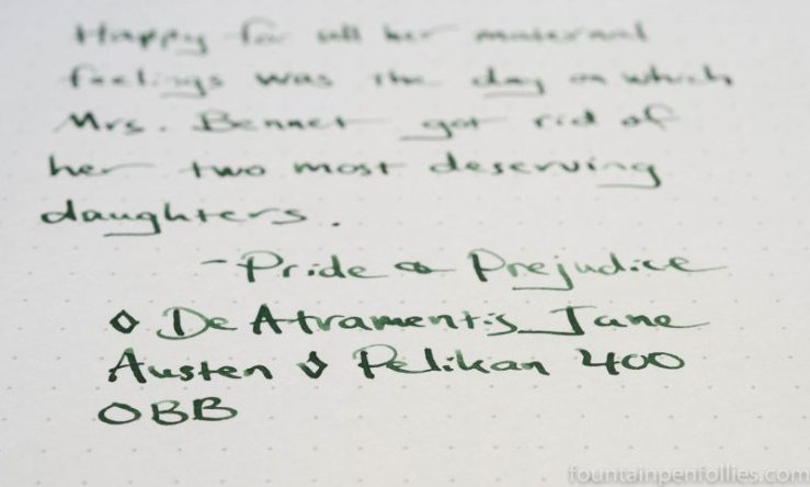 DeAtramentis Jane Austen ink writing sample