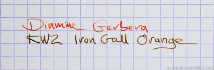 Diamine Gerbera and KWZ Iron Gall Orange writing sample