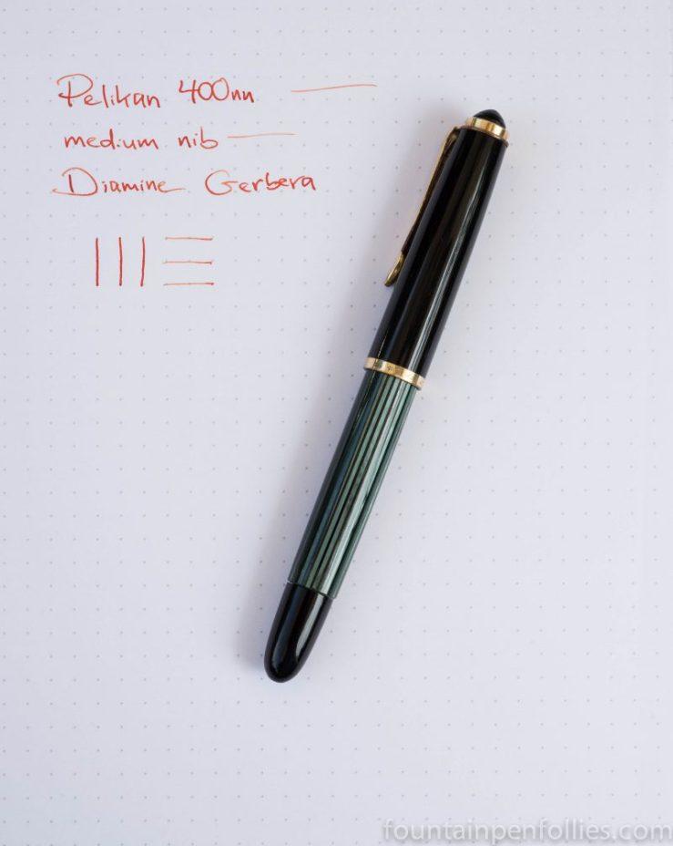 Pelikan 400nn with Diamine Gerbera ink