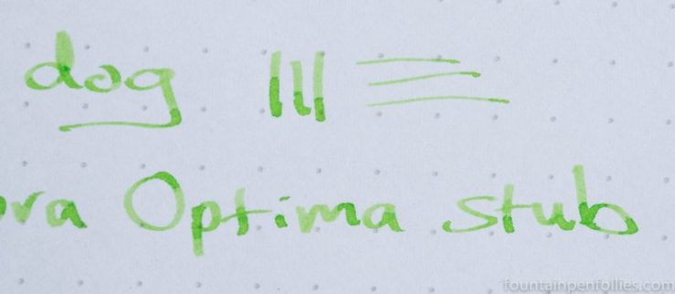 Aurora Optima factory stub nib writing sample